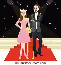 mujer, pareja, prom, gala, noche, hombre, alfombra roja