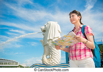 mujer, parque de merlion, viaje, singapur, asia, feliz