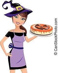 mujer, pastel de queso, halloween, aislado, sombrero de ...