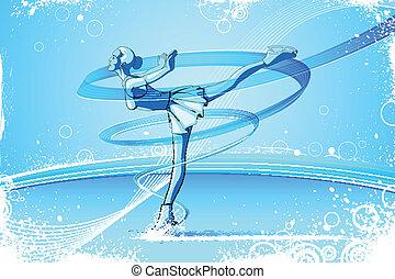 mujer, patinador