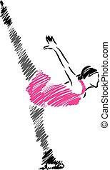 mujer, patinador, ilustración, hielo