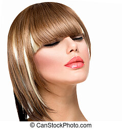 mujer, peinado, moda, hair., corte de pelo, fleco, ...