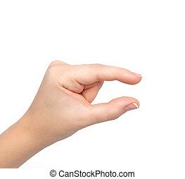 mujer, pellizco, objeto, zumbido, aislado, llevar a cabo la mano, o, exposiciones