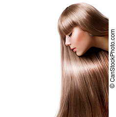 mujer, pelo, hair., rubio, largo, derecho, hermoso