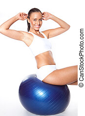 mujer, pelota, condición física