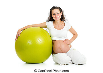 mujer, pelota, embarazada, gimnástico, sentado