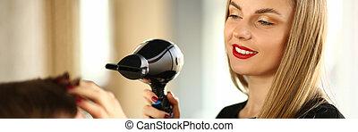 mujer, peluquero, secado, macho, pelo, hairdryer