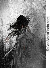 mujer, perdido, bosque