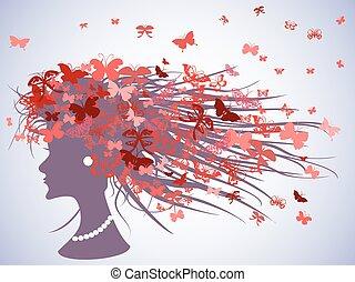 mujer, perfil, con, mariposas, pelo