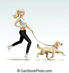 mujer, perro, hembra que activa, niña, rubio