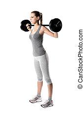mujer, pesas, elevación