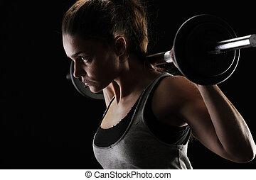 mujer, pesas, joven, elevación