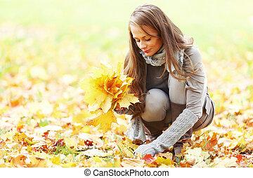 mujer, pico, otoño sale