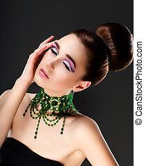 mujer, piedras preciosas, face., -, lujo, esmeralda, collar...