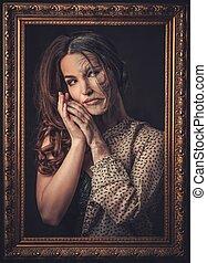 mujer, piel, viejo, joven, concept., mitad, frame., envejecimiento, imagen, cuidado