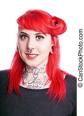 mujer, piercings, facial
