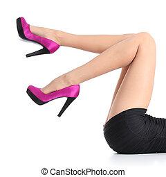 mujer, piernas, alto, fucsia, talones, hermoso