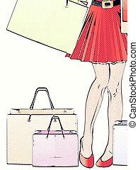 mujer, piernas, compras, halftone
