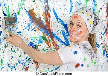 mujer, pintura