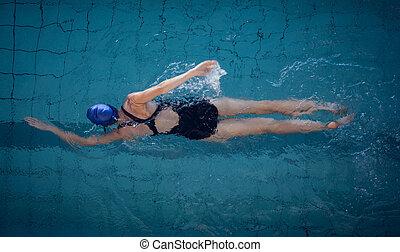 mujer, piscina, ataque, natación