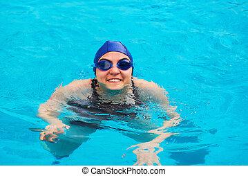 mujer, piscina, natación