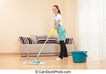mujer, piso, dormitorio, joven, cleaning., quehacer ...