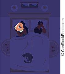 mujer, plano, smartphone, insomne, vector, insomnio, illustration., sufrimiento, cama, acostado, utilizar
