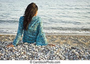 mujer, playa