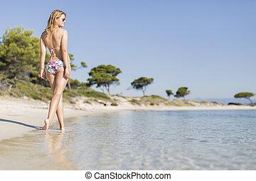 mujer, playa, joven