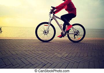 mujer, playa, joven, Uno, bicicleta, equitación