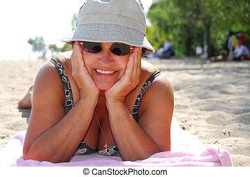 mujer, playa, maduro