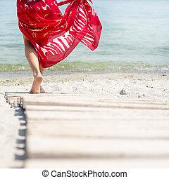 mujer, playa, paseos