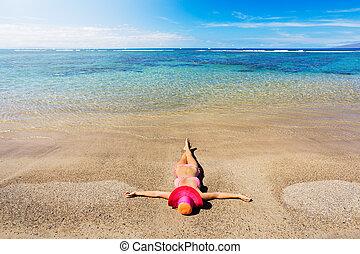 mujer, playa, relajante