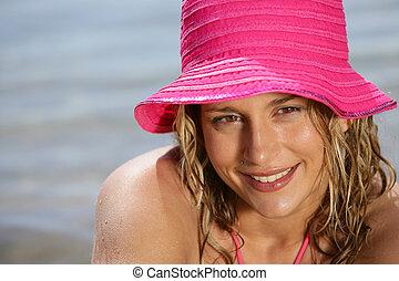 mujer, playa, rubio