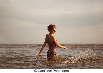 mujer, playa, sunset.