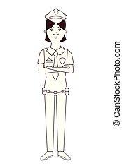 mujer policía, aislado, avatar
