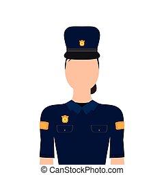 mujer policía, carácter, aislado