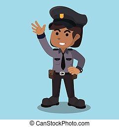 mujer policía, carácter, ilustración, africano