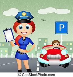 mujer, policía
