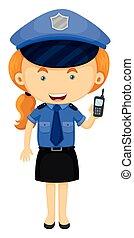 mujer policía, en, uniforme azul