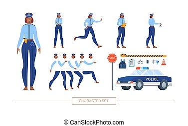 mujer policía, vector, constructor, carácter, plano, ...