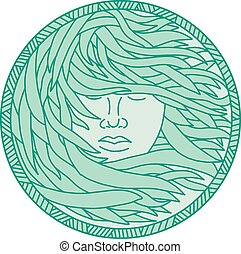 mujer, polynesian, mono, pelo, quelpo, mar, círculo, línea