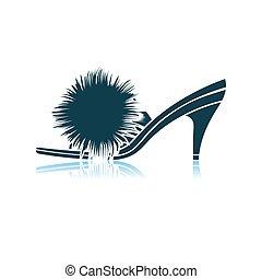 mujer, pompón, zapato, icono