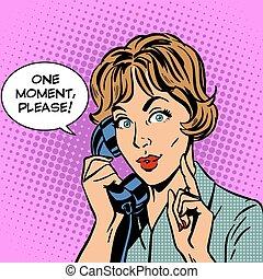 mujer, por favor, uno, teléfono, momento, habla