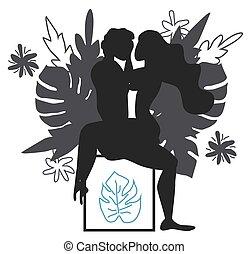 mujer, posición, sutra, arte, love., hombre, amazon, sex., ...