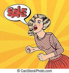 mujer, poster., grande, joven, taponazo, venta, sale., gritos, vector, ilustración, arte, feliz