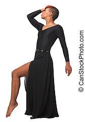 mujer, postura baile, elegante, norteamericano, africano