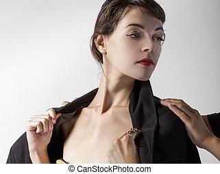 mujer, préstamo, cortés, gentlemans, chaqueta