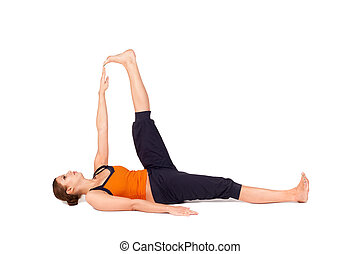 mujer, practicar, grande, postura, descanso, yoga, dedo del ...