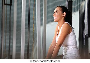 mujer, practicar, trabajando, joven, condición física,...